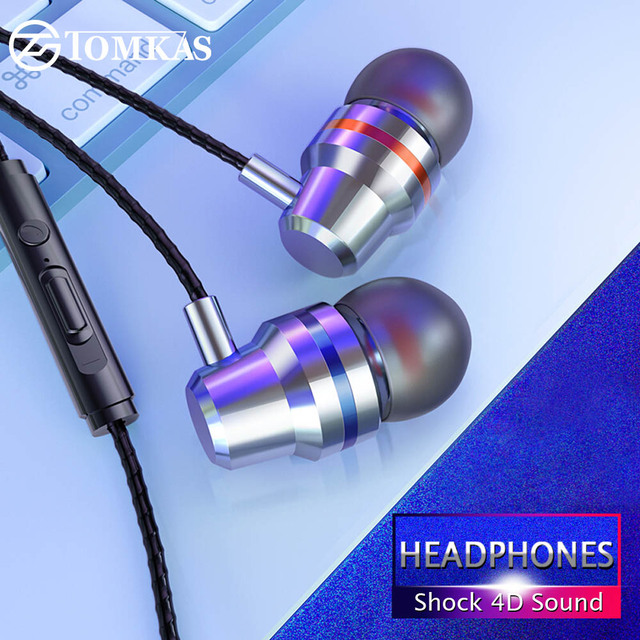 TOMKAS New Universal Headphones 3.5mm In Ear Stereo Earbuds For Xiaomi Sport Wired Earphone For Mobile Phone fone de ouvido