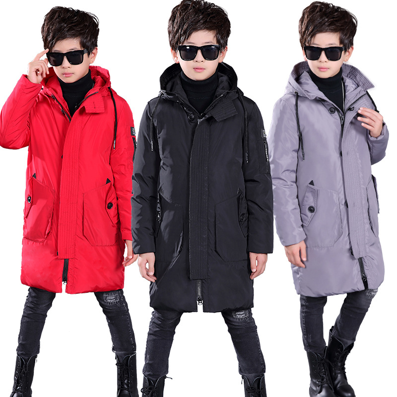 7-16 Years Boys Long White Duck Down Coat Jacket Winter 2018 New Fashion Thick Warm Solid Hooded Outerwear Black / Gray / Red luxury brand women sunglasses 2015 anti uv uv400 fashion sunglasses women classic circle sunglasses female