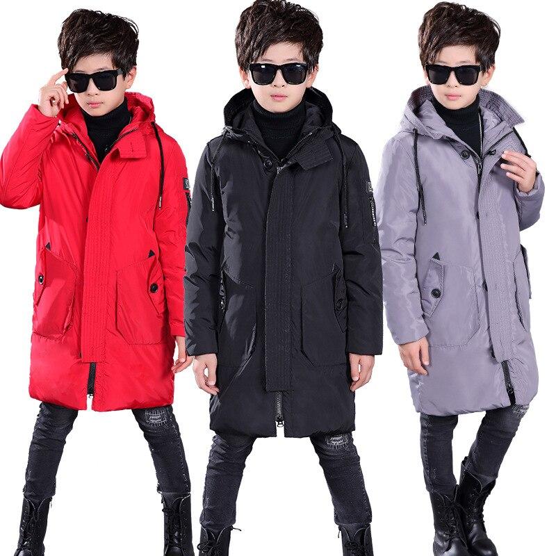 От 7 до 16 лет, длинное белое пуховое пальто для мальчиков, куртка зима 2018, новая модная плотная теплая однотонная верхняя одежда с капюшоном черный/серый/красный