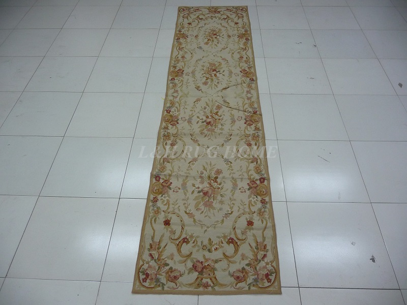 Free shipping 10K 2.5'x10' Needlepoint runner with flowers design handmade for home decoration