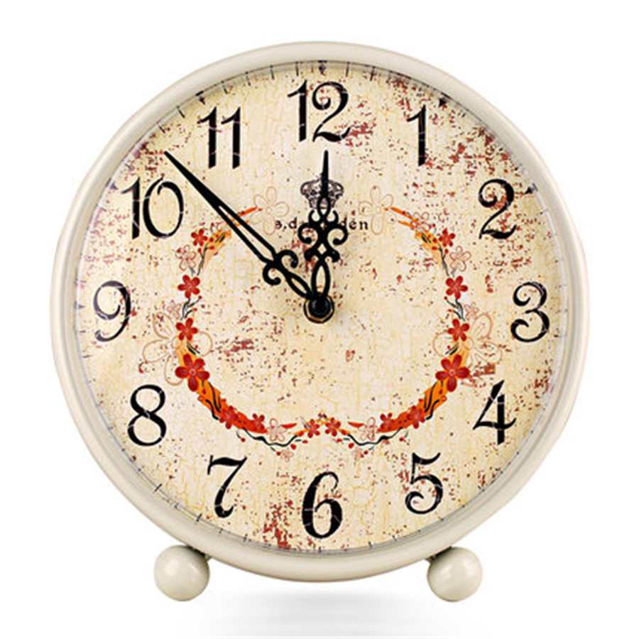Living Room Silent Retro Desktop Clock Fashion Modern Metal Vintage Decorative Table Clock Quartz Home Decor Duvar Saati 60k58