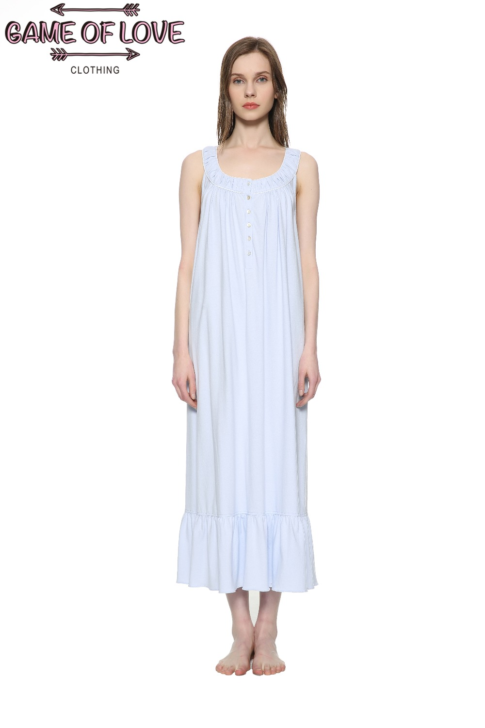 Game Of Love Women' 100 Cotton Floral Long Sleeveless Nightgown Sleepwear-in Nightgowns