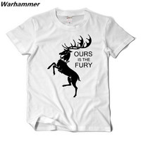 Warhammer Game Of Throne Men Tshirt Summer Print A Song Ice Fire Ours Is The Fury