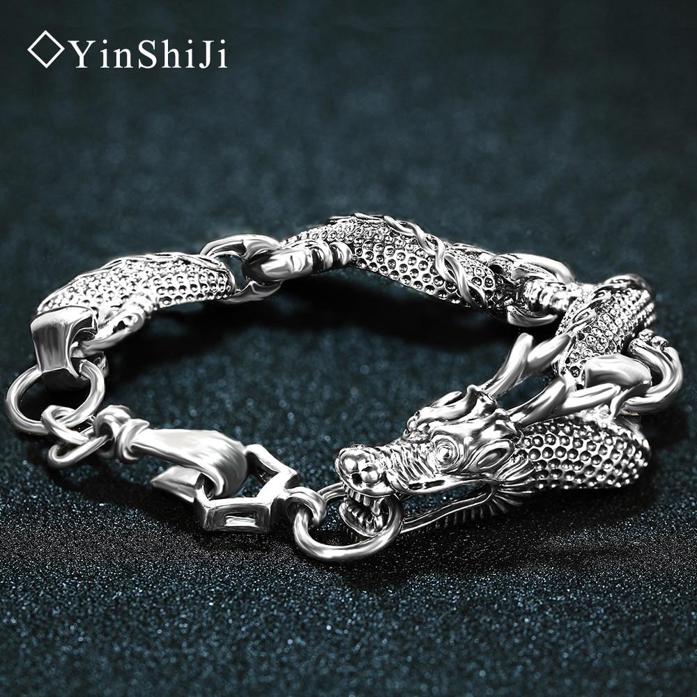 ec8634c04286 Yinshiji retro 100% plata esterlina 925 pulseras del Dragón para los hombres  frescos joyería de plata de la vendimia
