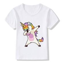 2017 Harajuku Dabbing Unicorn Funny Children T-Shirts Summer Tops Short Sleeve Boys/Girls Clothing Casual Baby Kids Tees,HKP2197