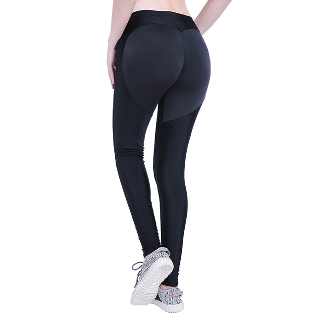 e9867422880774 New Sexy Push Up Black Leggings Women Workout Mesh Patchwork Legging Femme  Casual Peach Heart Shaped Athleisure Leggings