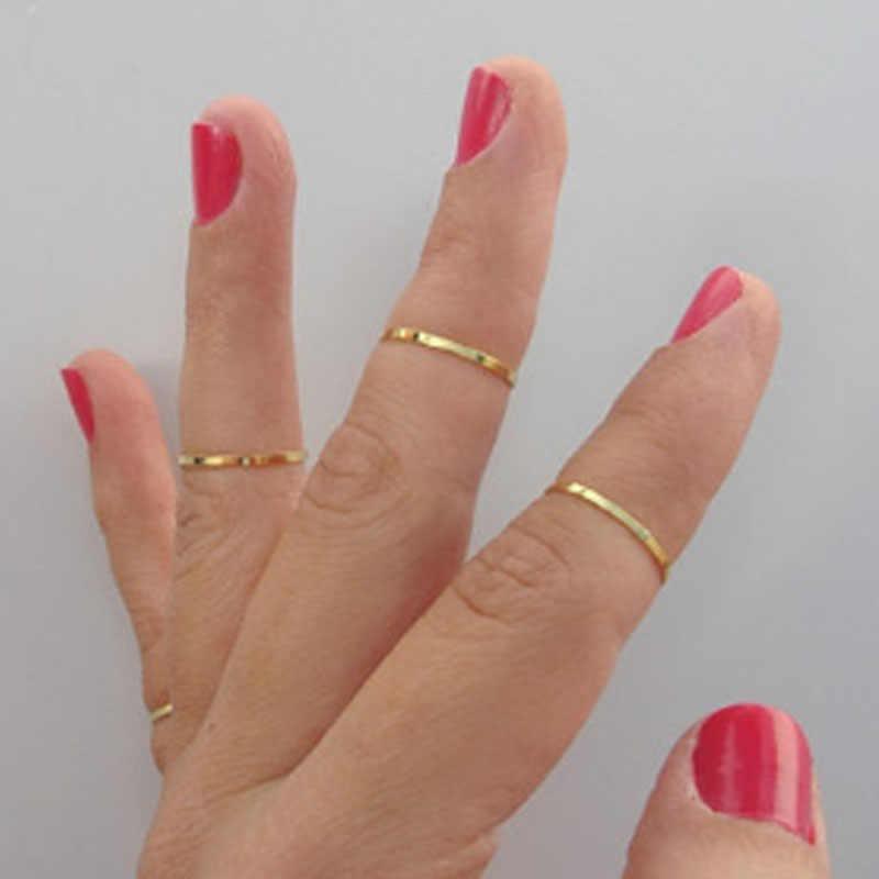 Simple Fine เครื่องประดับ Midi Finger Knuckle แหวนตกแต่งขัดแหวนทองเหลืองข้อต่องานแต่งงานและหมั้นเครื่องประดับ