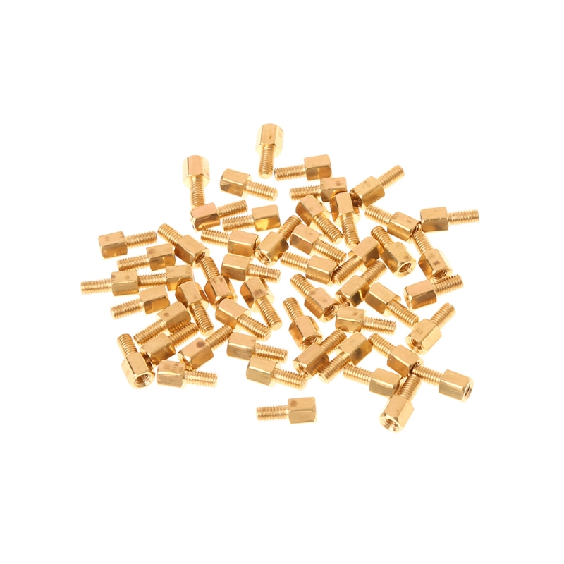 50 Pcs/set M3 Male x M3 Female 6mm Long Hexagonal Brass PCB Standoffs Spacers W315 m3 x 15mm hexagon brass cylinder golden 50 pcs