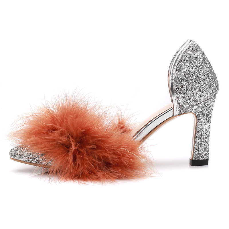 New Pointed Toe Glitter Embellished High Heel Shoes Sexy Feather Decorations Cutouts Thick Heels Woman Pumps Wedding Shoes new hot selling glitter embellished high heel shoes 2018 sexy pointed toe ankle strap woman pumps crystal wedding heels