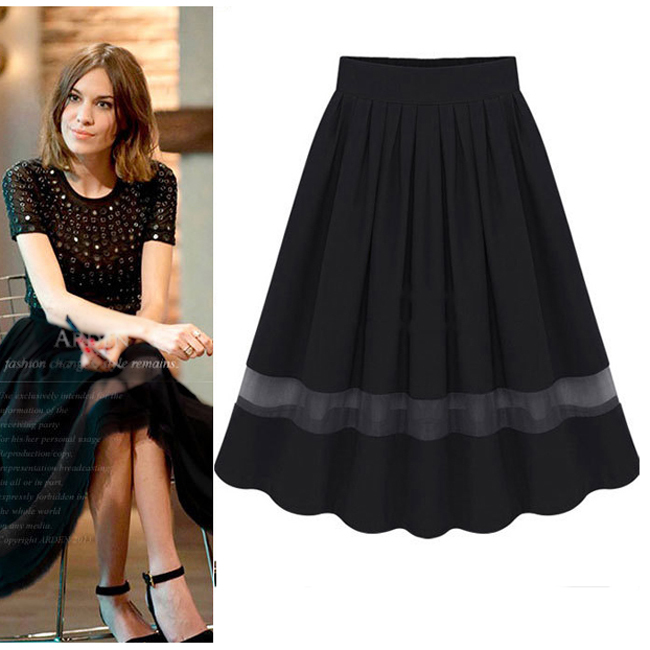Women Skirt Bubble High Waist Skirt Retro Organza Pleated Tutu ...