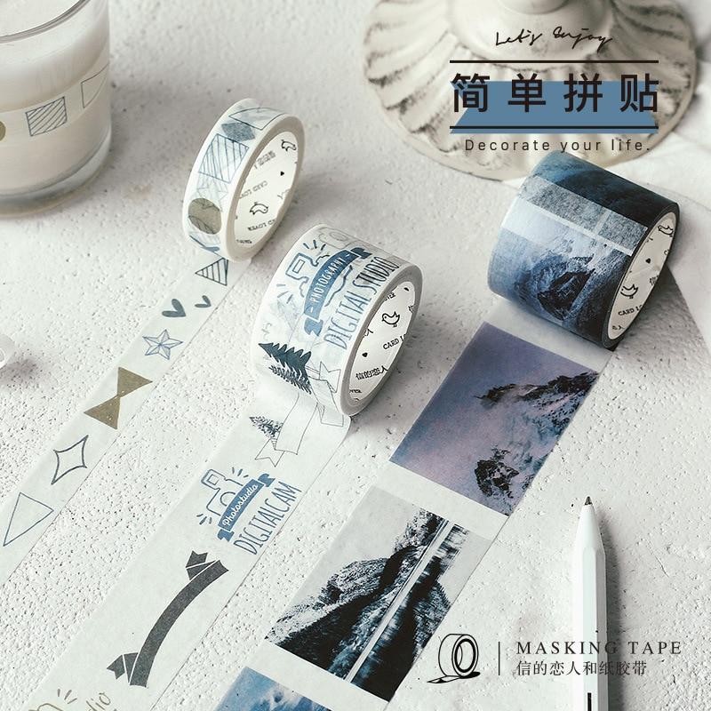 1pc Life Series Washi Tape Retro Diy Adhesive Scrapbooking Photo Album Sticker Bullet Journal School Stationery Cute Supplies