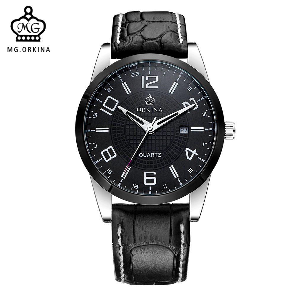 MG. ORKINA Leather Belt Japan Made MIYOTA Movement Date Display Mens Quartz Watch Military Montre Male Relogios 2pm junho japan solo album feel 5 postcards lyric booklet release date 2014 08 19 kpop