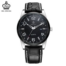 MG. ORKINA Leather Belt Japan Made MIYOTA Movement Date Display Mens Quartz Watch Military Montre Male Relogios