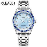 OUBAOER สร้อยข้อมือผู้หญิงแบรนด์หรูนาฬิกาคริสตัลแฟชั่นผู้หญิงนาฬิกากันน้ำ XFCS ผู้หญิงควอตซ์นาฬิกา Montre Femme