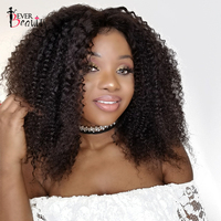 Kinky Curly Lace Front Human Hair Wigs For Women Natural Black Color 250 Density Brazilian Short Bob Human Wig Remy Ever Beauty