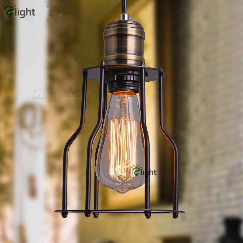 ФОТО Nordic Simple Iron Frame Pendant Lights American Country Retro Restaurant LED Pendant Lights