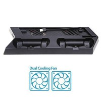 Vertical Stand Cooling Fan Game Holder Dual Charging Station With USB HUB DiscStorage Manager For PS4
