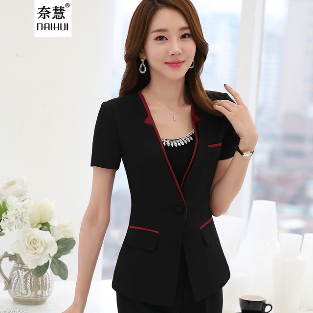 2d28415bcc57f 2016 Summer Elegant V neck Short Sleeve Formal Uniform Style Women Office  Work pant suits Female Blazer Jacket with trousers set-in Pant Suits from  ...