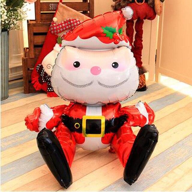 1 قطعة ثلاثية الأبعاد سانتا عيد الميلاد بالون احباط بالونات عيد ميلاد سعيد عيد ميلاد سعيد تضخيم الكرة لعبة زينة عيد الميلاد للمنزل