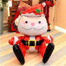 1pcs 3D 산타 크리스마스 풍선 호 일 풍선 메리 크리스마스 생일 축하 공 장난감 크리스마스 장식 집에 대 한
