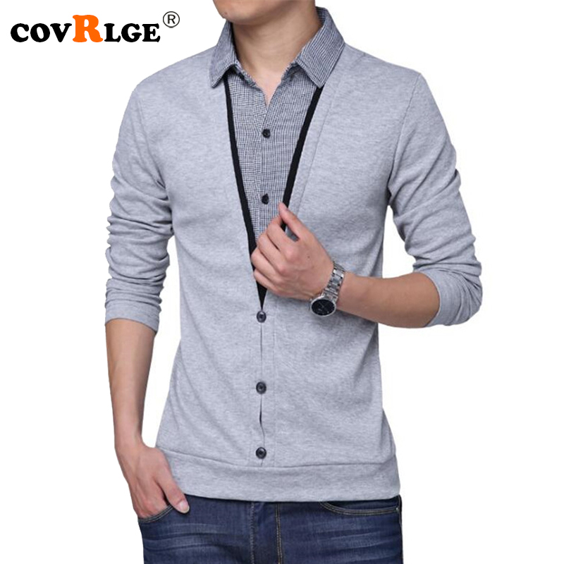 Covrlge T Shirt Men 2018 Fashion Turn-down Fake Two Men's T-shirts Casual Male Tee Shirt Russian Tops Long Sleeve Tshirt MTL083
