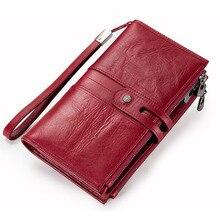 Купить с кэшбэком 2018 Fashion Women Wallets Drawstring Genuine Leather Zipper Money Bag Ladies's Long Design Purse Three Fold More Color Clutch