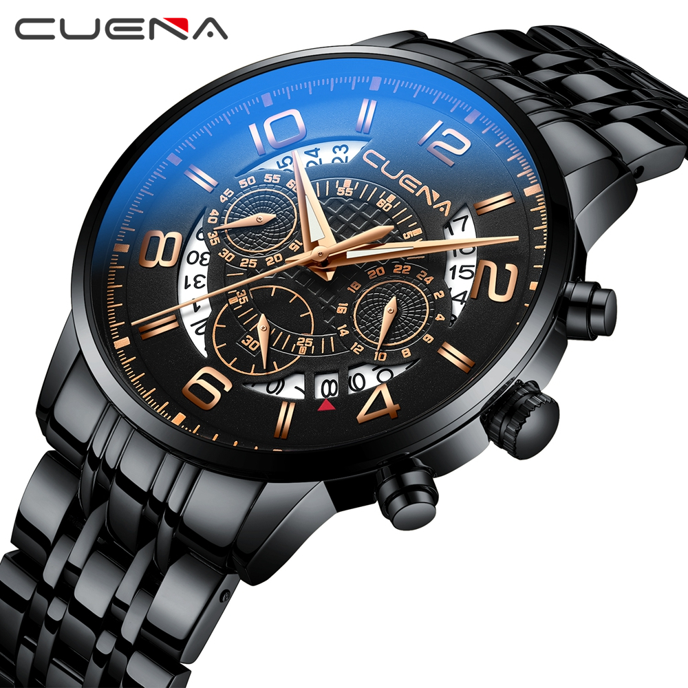 CUENA Luxury Brand Gold Men Watches Full Steel Waterproof Fashion Men's Wristwatch Quartz Watch Male Clock Relogio Masculino ochstin luxury lover s watches waterproof luxury brand stainless steel quartz watch relogio masculino clock gold male wristwatch
