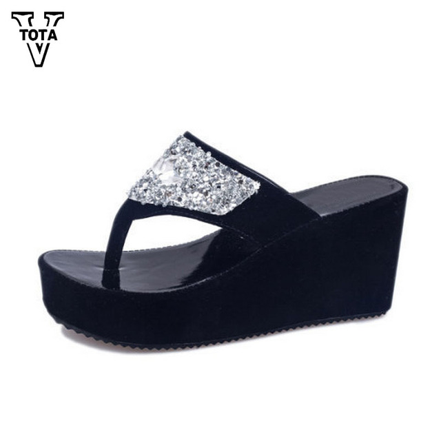474936660a7aa VTOTA Summer Wedges Women Shoes Rhinestone Woman Flip Flops Platform  Designer Shoes Woman Beach Slippers Zapatos Mujer XY14