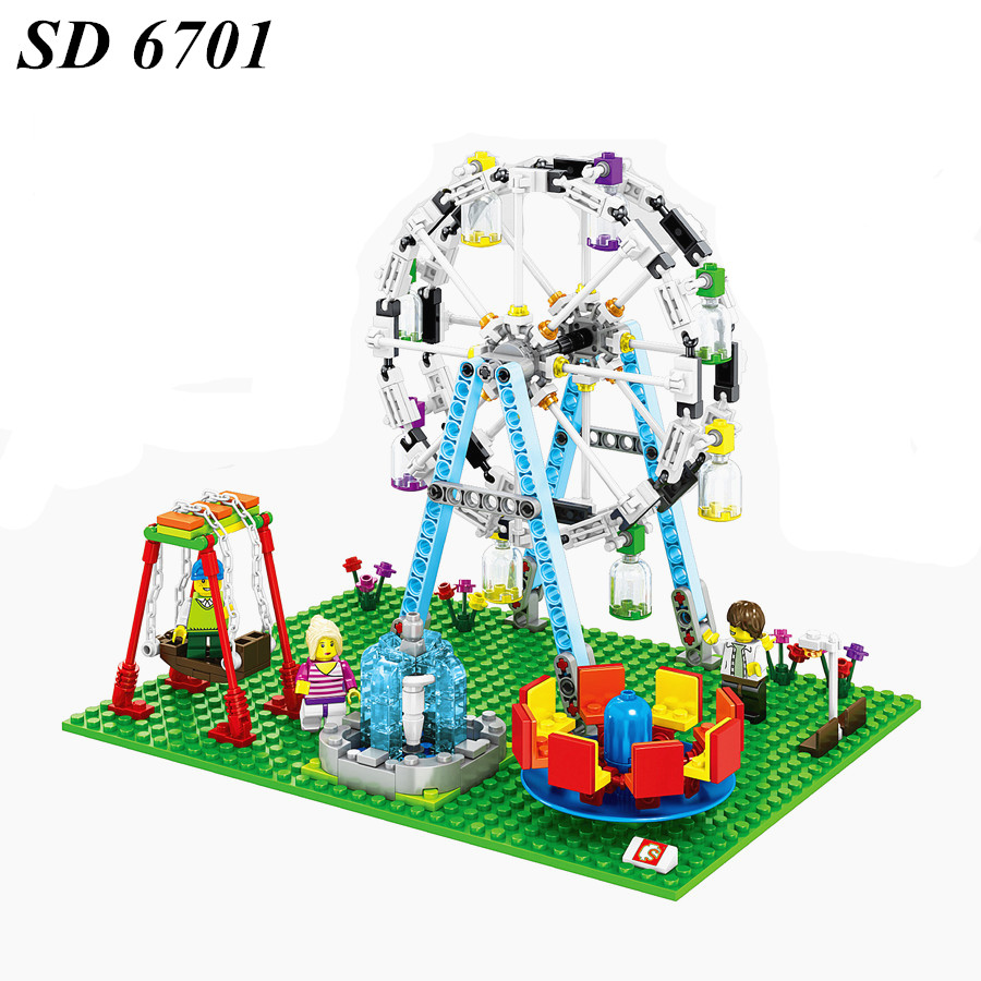AIBOULLY 2017 NEW SD6701 Mini City Street Creator Ferris Wheel Model Building Kits Building Blocks Bricks Compatible Toys стоимость