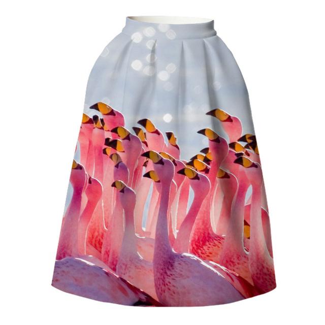 13 mujeres faldas 2016 flamencos mujeres del verano más tamaño ropa de marca vestido tutú saia midi de la falda retro Boho gato 3d unicornio