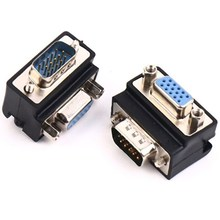 15 Pin VGA SVGA Adapter Male to Female Cable Extender Converter 90 Degree Right Angle Plug for PC LCD TV Monitor VGA Connector new vga svga 15 pin port saver vga adapter male to vga male d sub vga male to male monitor adapter wholesale aqjg