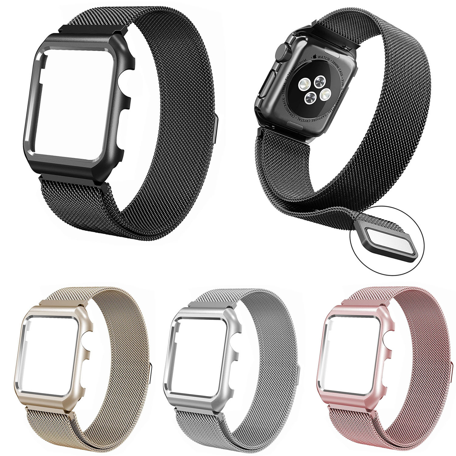 Mianlese Loop Strap for Apple Watch Band Series 1/2 Magnetic Clasp Stainless Steel Bracelet for iWatch with Case Cover 42mm 38mm genuine leather loop band for apple watch band 42mm 38mm strap bracelet for iwatch series 1 2 3 adjustable magnetic closure belt