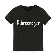 Threenager/Детская футболка с буквенным принтом рубашка для мальчиков и девочек детская одежда для малышей Забавные футболки Z-79