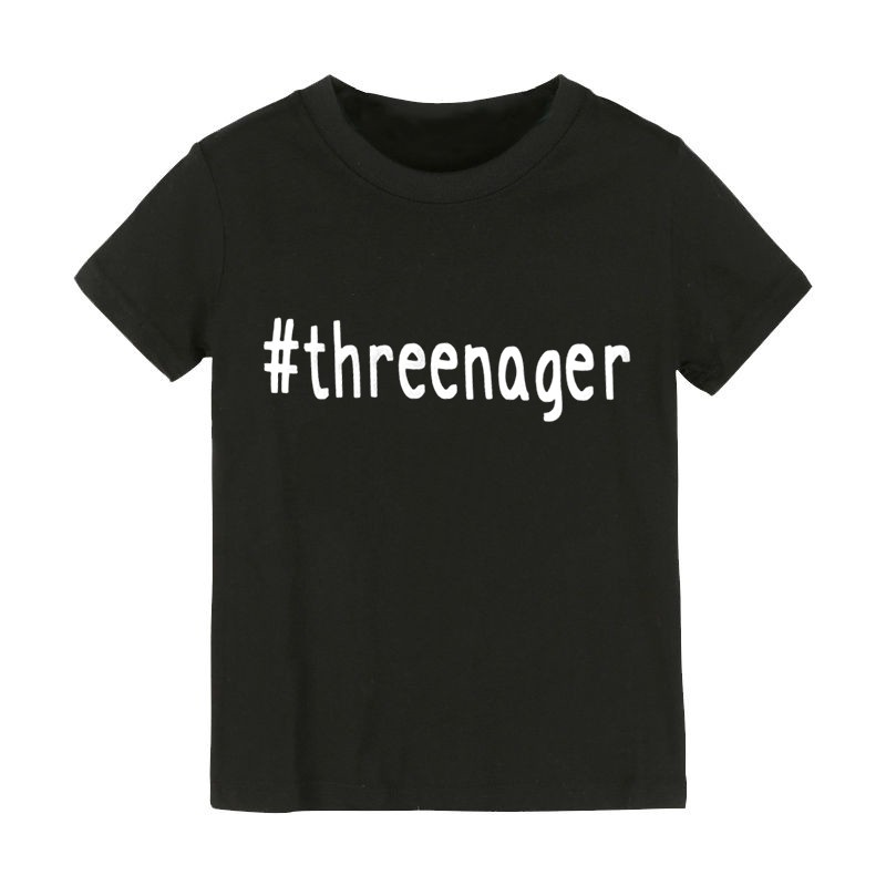 Threenager Letters Print Kids Tshirt Boy Girl Shirt
