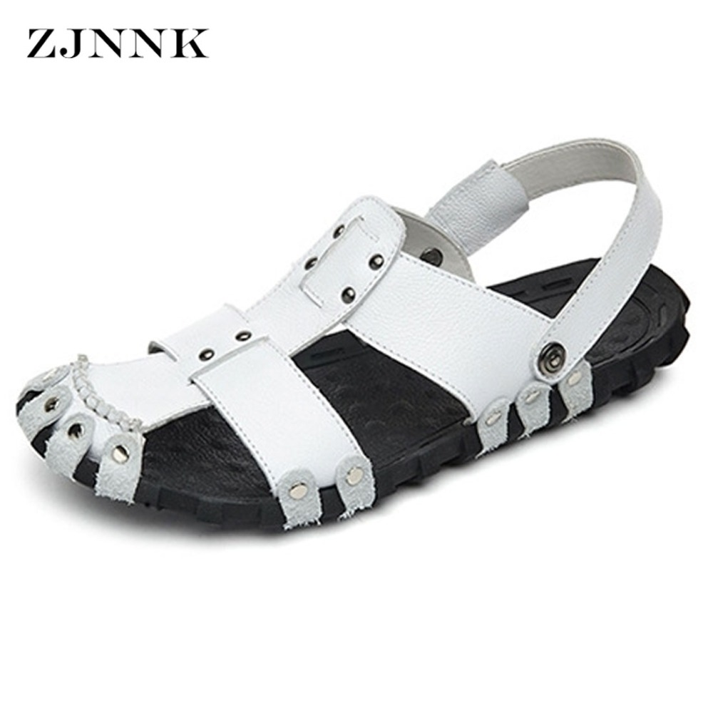 ZJNNK Men Gladiator Sandals Genuine Leather Fashion Sandals Breathable Massage Summer Beach Shoes With Soft Soles Dropshipping