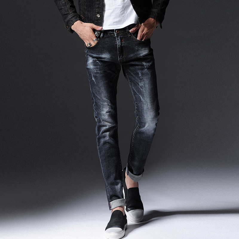 Autumn and winter new men 's feet stretch jeans young Korean men' s stretch Slim beef trousers tide pants