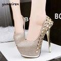 Sapatos de casamento do ouro HOT Moda Rebites Bombas 2016 Sexy das Mulheres Dedo Do Pé redondo Mulheres Bombas 14.5 CM Salto Alto Mulheres Estações Sapatos X145