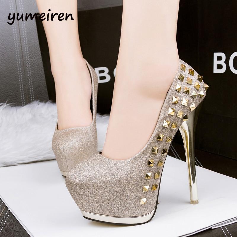 ФОТО gold wedding shoes HOT Fashion Rivets Women's Pumps 2016 Sexy Round Toe Women Pumps 14.5CM High Heels Women Seasons Shoes X145
