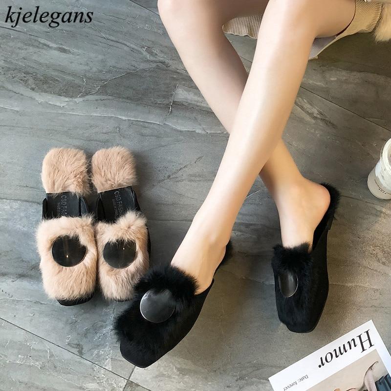 2018 Nuevo Peludos Kjelegans Simple Moda Señoras Deslizadores Soft Negro Invierno Mujeres caqui Flats De Zapatos Sapato Slides Decoración Metal Feminino qEzE5xrwd