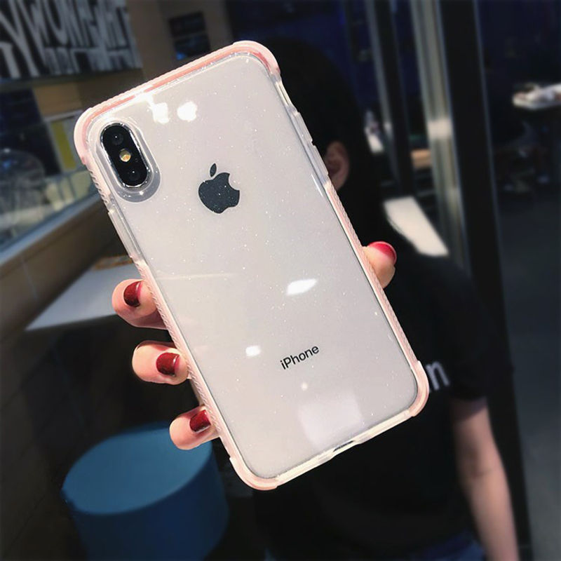 US $1.88 25% OFF|Luxury Glitter Powder Phone Case For iPhone X XR XS Max 8 7 Plus 6 6S Plus Transparent Soft TPU Shockproof Shining Back Cover in