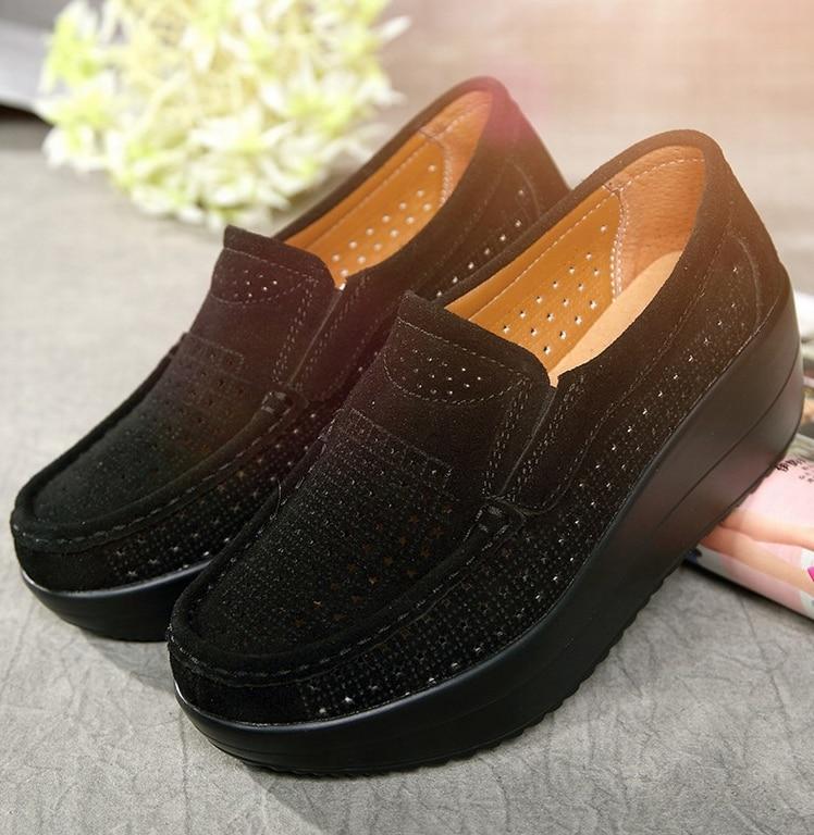 SWYIVY Для женщин тонизирующее обувь из натуральной кожи Толстая подошва дышащая Обувь для танцев летние полые большой размер 42 Женская обувь для похудения - Цвет: Черный