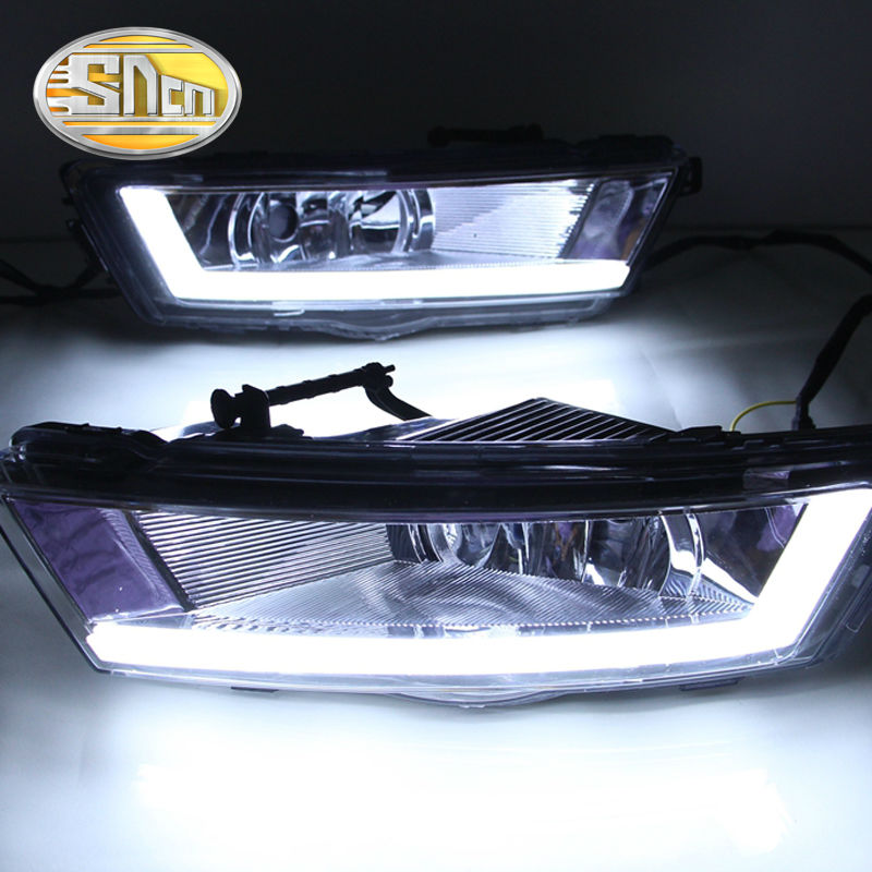 For Skoda Rapid 2013 - 2015,Turn Yellow Signal Relay Waterproof ABS Fog Lamp Cover Car DRL 12V LED Daytime Running Light SNCN hot sale abs chromed front behind fog lamp cover 2pcs set car accessories for volkswagen vw tiguan 2010 2011 2012 2013