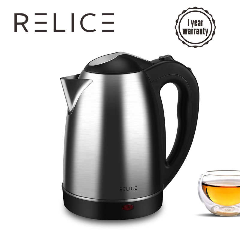 RELICE Electric <font><b>Kettle</b></font> EK-201 Auto Shut-Off <font><b>Kettles</b></font> 1600W Power 1.8L Volume 304 Stainless Steel Casing 360 rotation Cord 220V