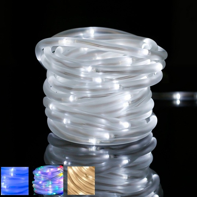 33ft 10m 100 led solar powered rope light string waterproof tube 33ft 10m 100 led solar powered rope light string waterproof tube string strip light for christmas aloadofball Image collections