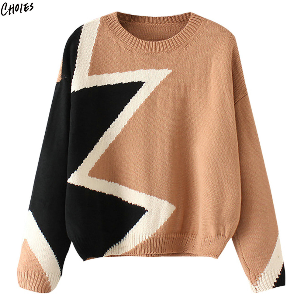 6bc0ceff0cbfc1 3 Colors Patchwork Tassel Chunky Knitted Sweater Women Long Sleeve Round  Neck Geo Pattern High Street ...