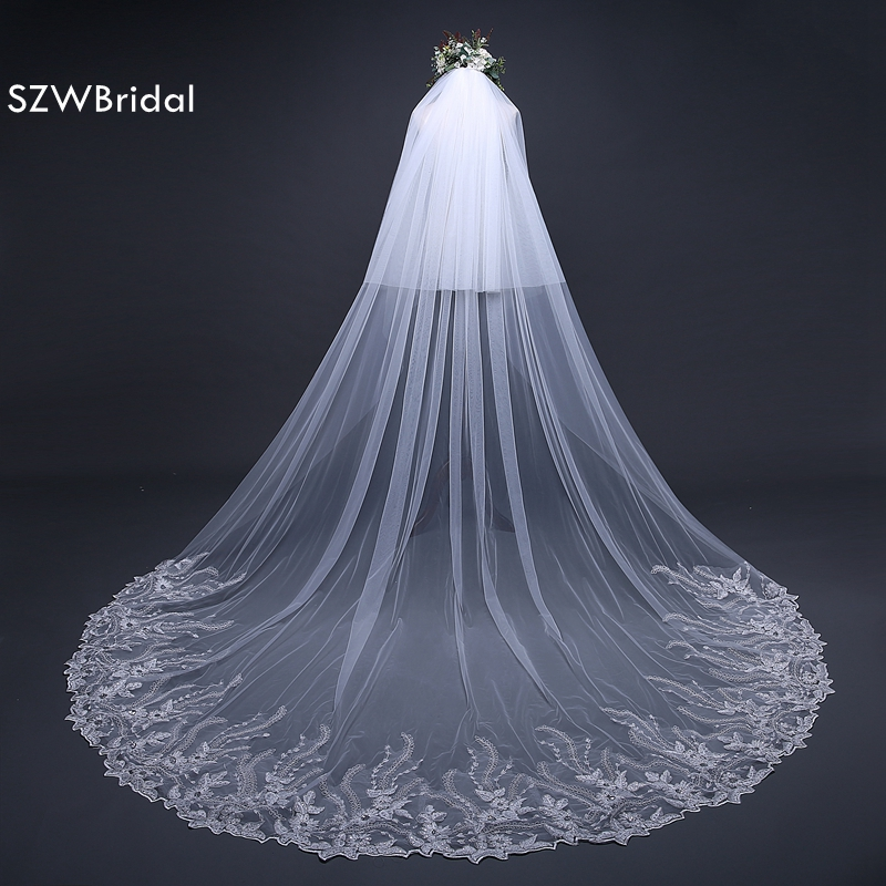 Wedding Accessories 2018 White Bridal Veil Lace Edge wedding veil 2018 Sexy wedding veil with comb Casamento cathedral veil