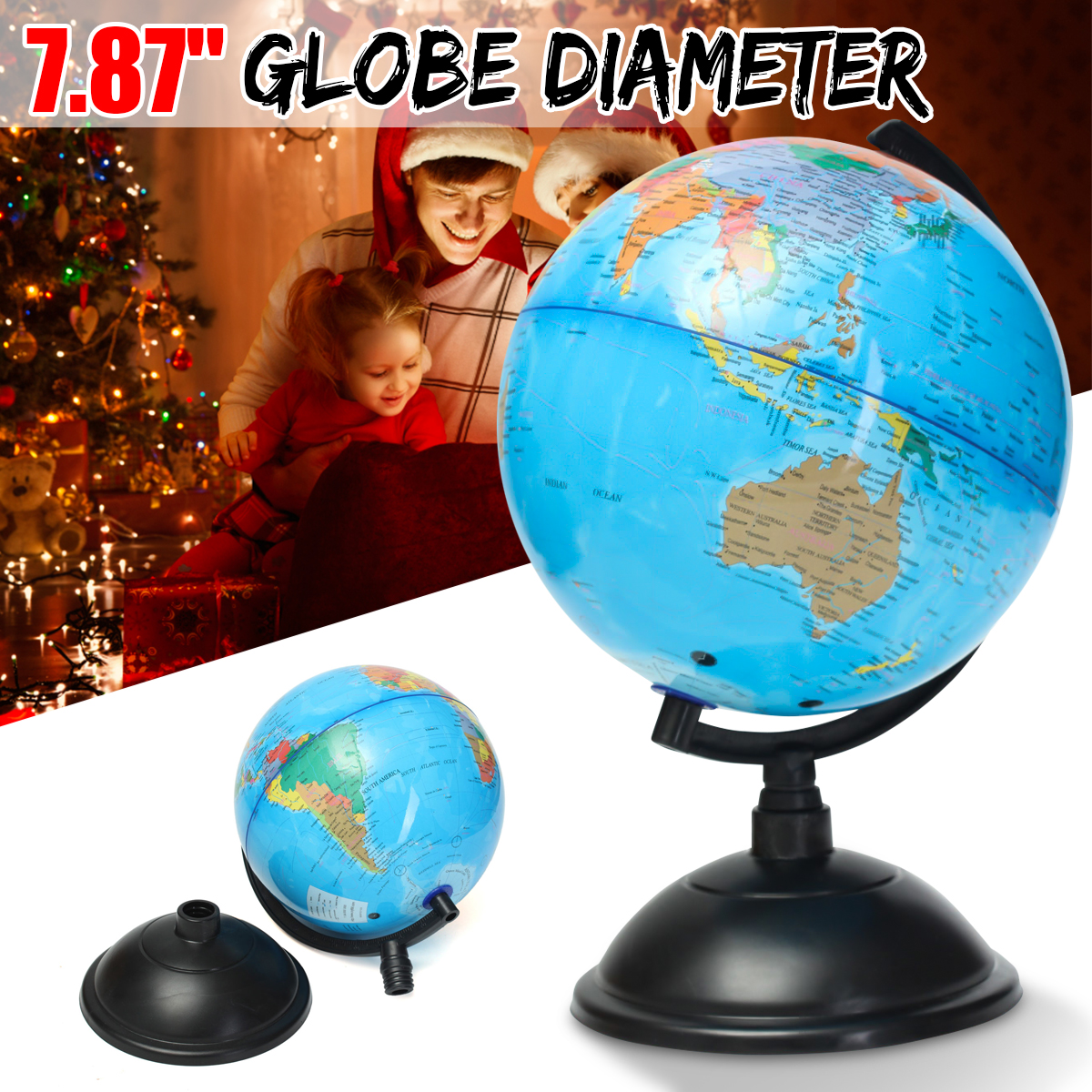 20cm Plastic Montessori Mini Tellurion Blue Ocean Terrestrial World Globe Map With Rotate Stand Geography Educational Toys Gift mini world mn202