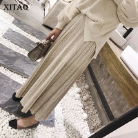 [XITAO] 2018 Spring Women New Korea Loose Elastic Waist Solid Color A Line Ankle Length Female Pleated Knitted Skirts XWW3093