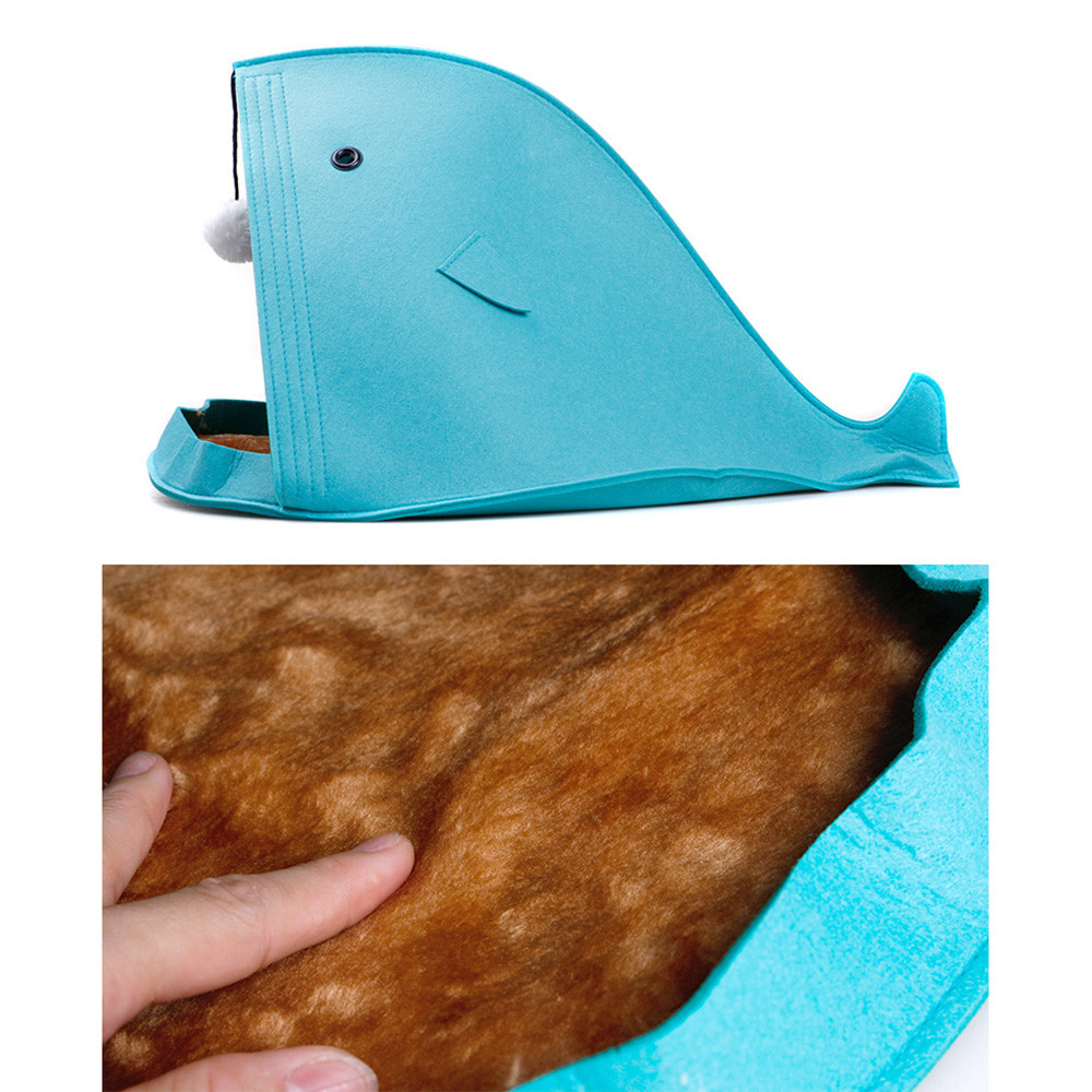 Newest 2 color Pet Dog Dual Use Convenient Portable Shark Shape Cute Dog Beds Warm Soft Foldable Dog House F901 3
