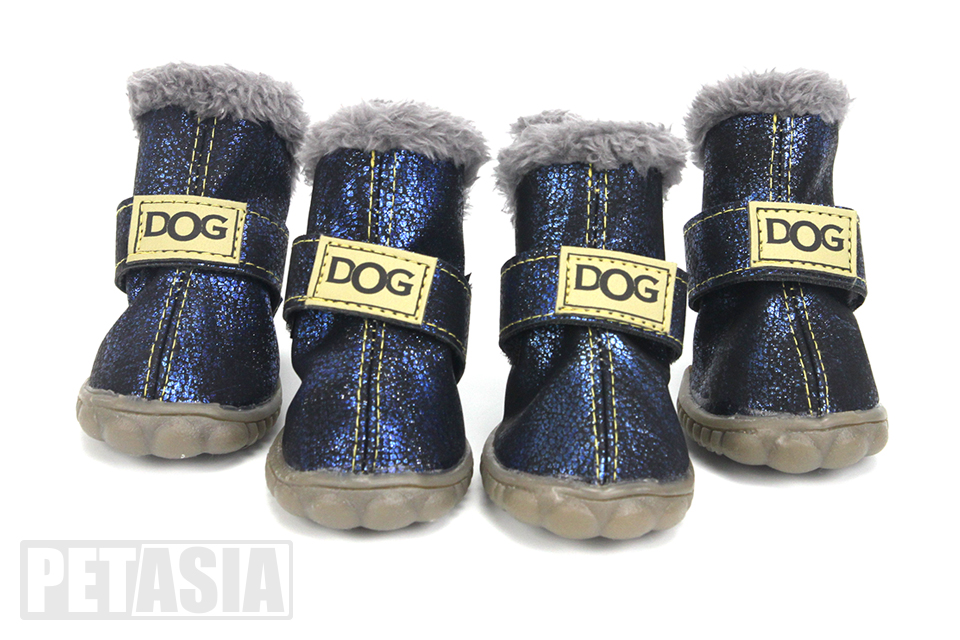 PETASIA Pet Dog Shoes Winter 4pcs set Small Medium Dogs Boots Cotton Waterproof Anti Slip XS XL Shoes for Pet Product ChiHuaHua select_Fluorescent blue